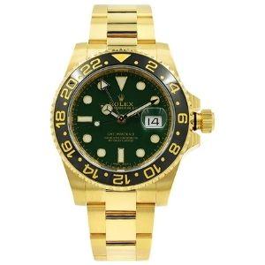 reloj automatico rolex gmt master II 'anniversary green' 116718LN, para hombre, de oro amarillo con dial verde