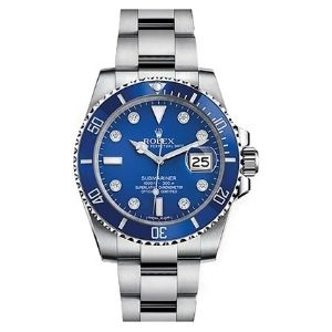 reloj automatico rolex submariner 116619Lb, para hombre, de oro blanco con dial azul y diamantes