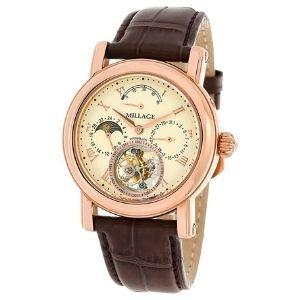 reloj millage volando tourbillon (3826) collection, para hombre, de oro rosa con correa de piel de lagarto