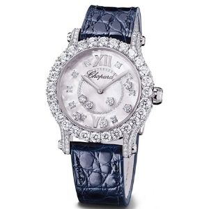 reloj analogico chopard diamond happy sport joaillerie 274809-1001, para mujer, de oro blanco con diamantes