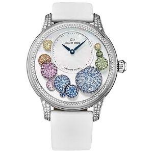 reloj automatico jaquet droz, petite heure j005024532, para mujer, de oro blanco de 18 k con zafiros multicolores y diamantes