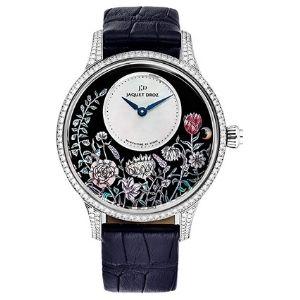 reloj automatico jaquet droz, petite heure limited edition j005014211, para mujer, de oro blanco de 18 k con diamantes