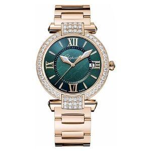 reloj quartz chopard 384221 – 5016, para mujer, de oro rosa con dial verde imperial