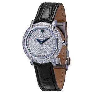 reloj analogico graff, para mujer, de oro blanco de 18 k con diamantes y esmeralda