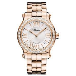 reloj automatico chopard happy sport 274808-5004, para mujer, de oro rosa de 18 k con diamantes