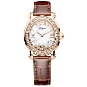 reloj analogico chopard happy sport, para mujer, de oro rosa de 18 k con diamantes
