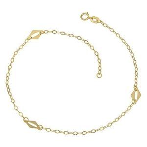 tobillera con eslabones de estacion tipo diamante para mujer, en oro amarillo de 10 k