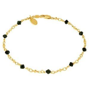tobillera con piedras negras tipo diamante, para mujer y niña, chapada en oro de 24 k