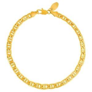 tobillera de eslabones tipo ancla para mujer y niña, chapada en oro de 24 k