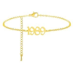 tobillera para mujer y niña, chapada en oro amarillo de 14 k con año 1985 - 2005
