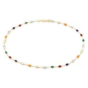 tobillera con cristales multicolor en corte baguette para mujer y niña, chapada en oro amarillo de 18 k