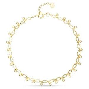 tobillera en cadena infinito con cuentas de gota para mujer y niña, chapada en oro amarillo