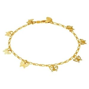 tobillera de eslabones de corazon para mujer y niña, chapado en oro de 24 k con dijes de mariposa
