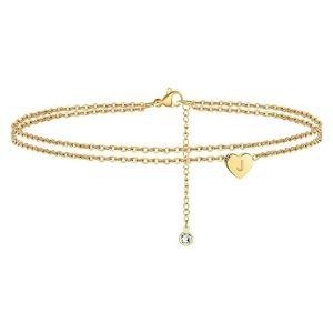tobillera de doble fila para mujer, chapada en oro de 14 k con corazon y letra inicial