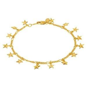 tobillera de playa con dijes de estrellas para mujeres y niñas, chapada en oro amarillo de 24 k