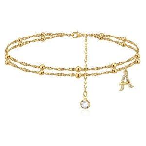 tobillera de cuentas para mujer y niña, chapada en oro amarillo de 14 k con letra del alfabeto