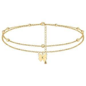 tobillera de cuentas con dije de mariposa y letra inicial para mujer, chapada en oro de 14 k