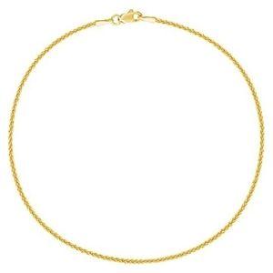 tobillera de eslabones tipo trigo para mujer, de oro amarillo de 14 k