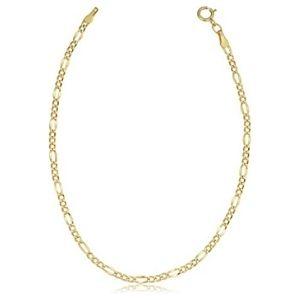 tobillera de eslabones tipo figaro para mujer, de oro amarillo de 10 k
