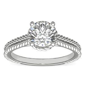 anillo de oro blanco de 14 k, para mujer, con diamante redondo