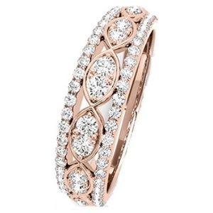 anillo de matrimonio, de oro rosa solido de 14 k con diamantes