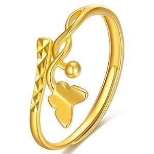 anillo de oro amarillo solido de 18 k, para mujer, con mariposa