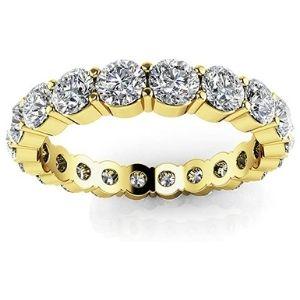 anillo eternidad de oro amarillo de 18k, para mujer, con diamantes redondos