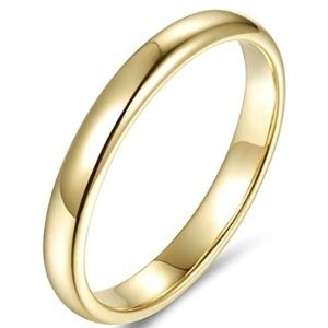anillo de matrimonio, de oro amarillo de 14 k