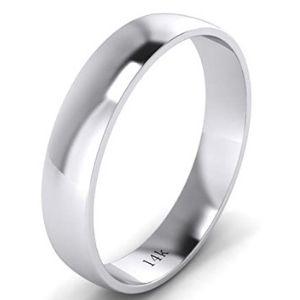 anillo liso de matrimonio, de oro blanco macizo de 14 k