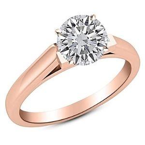 anillo de compromiso, de oro rosa de 18k, con diamante solitario