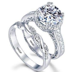 juego de anillos de matrimonio, chapados en oro blanco de 18 k, con circonitas