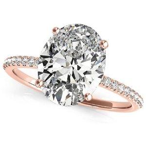 anillo de compromiso, de oro rosa de 18k, con diamante ovalado