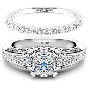 juego de anillos de boda, chapados en oro blanco de 18 k con circonitas
