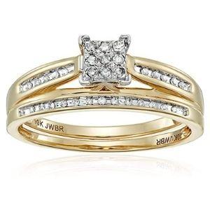juego de anillos de boda, de oro amarillo de 10 k, con diamantes