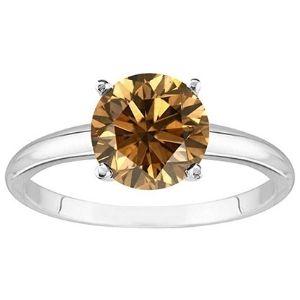 anillo de compromiso, de oro blanco de 18k con diamante cafe