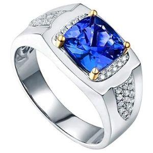 anillo de oro blanco con zafiro