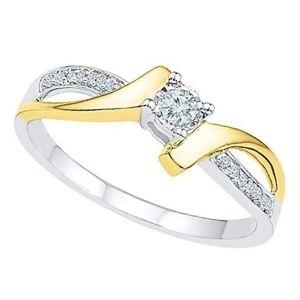 anillo de oro blanco y amarillo de 10 kilates con diamante