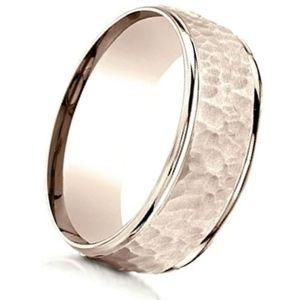 anillo de oro martillado de oro rosa de 14 k