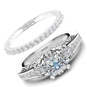 juego de anillos de boda, de oro blanco con diamantes