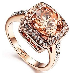 anillo de oro rosa con diamante rosado