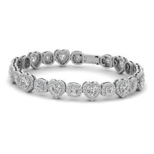 brazalete tenis para mujer, de oro blanco de 18 k con moisanita y diamantes