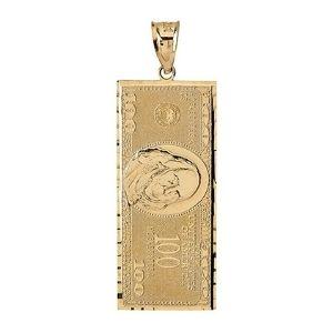 colgante de billete de cien dolares, en oro amarillo macizo de 10 k