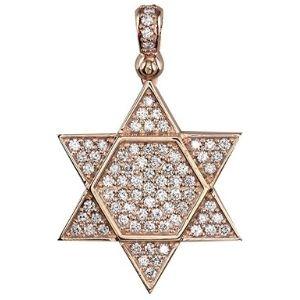 colgante estrella judia de david, en oro rosa de 18 k con diamantes