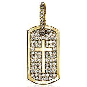 colgante de identificacion con cruz, en oro amarillo de 18 k con diamantes