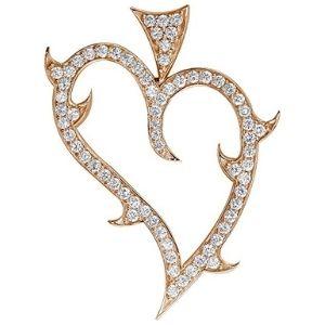 colgante del amor, de oro rosa de 14 k con diamantes