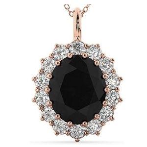 colgante tipo halo para mujer, en oro rosa de 14 k con diamantes negro y blancos