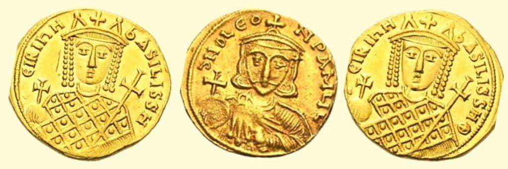 historia de las monedas bizantinas de oro