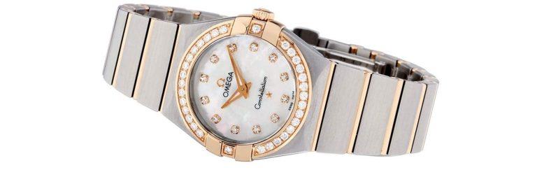 reloj omega constellation de oro rosa con diamantes, para mujer