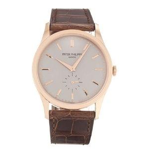 reloj patek philippe Calatrava 5196R-001, de oro rosa de 18 k con correa de piel, para hombre