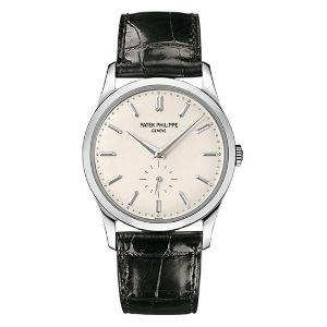 reloj patek philippe calatrava 5196G-001, de oro blanco de 18 k con correa de piel, para hombre